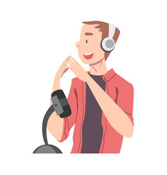 Young man in headphones listening and recording vector