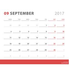 calendar planner 2017 september week starts vector image vector image