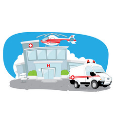 hospital with helicopter on roof and ambulance vector image vector image