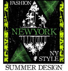 new york fashion style tee art vector image vector image