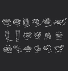 set of hand drawn food and drinks on black vector image vector image