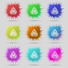 skyscraper icon sign A set of nine original needle vector image vector image