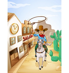 A man with a tobacco riding in a white horse vector image vector image