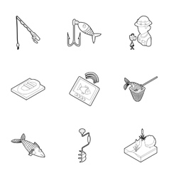 Fishing on river icons set outline style vector image vector image