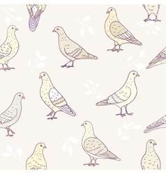 seamless cute doves vector image vector image