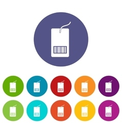 Tag with bar code set icons vector image