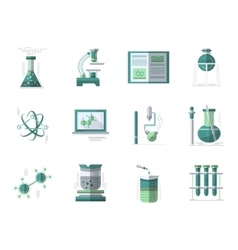 Chemistry flat color icons set vector image