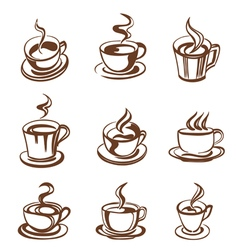 cups outline vector image vector image