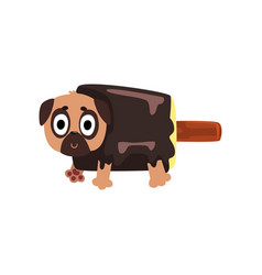 cute funny pug dog character inside chocolate vector image vector image