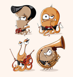 set of funny retro monsters musicians vector image