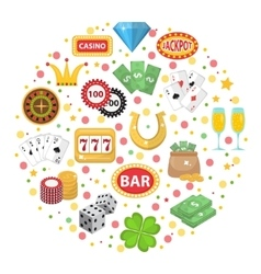Casino icons in round shape flat style gambling vector