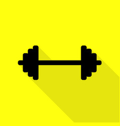 dumbbell weights sign black icon with flat style vector image vector image