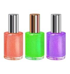 Nail polish with silver cap set vector image