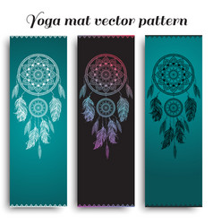 set of yoga mat with dreamcatcher pattern vector image