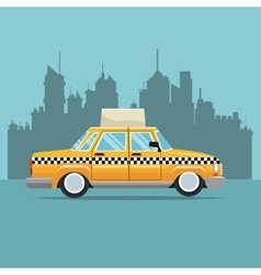 taxi car new york side view town background vector image vector image