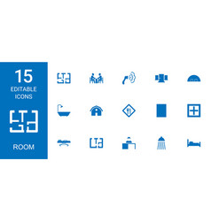 15 room icons vector