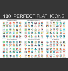 180 modern flat icons set of cyber security vector image