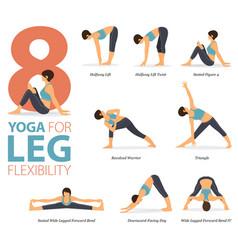 8 yoga poses for leg flexibility concept vector image