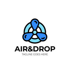air cooling logo two colored and black air vector image