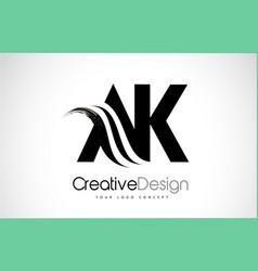 Ak a k creative brush black letters design vector