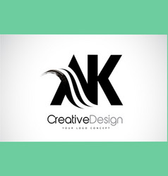 ak a k creative brush black letters design with vector image
