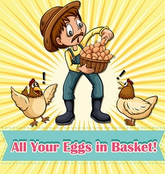 All your eggs in one basket idiom vector image