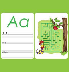 Alphabet a-z - puzzle worksheet - a - apple vector