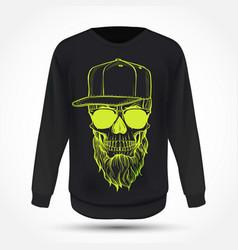 Angry skull with beard vector