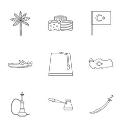 Ankara map icons set outline style vector