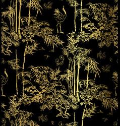Bamboo bird crane tree japanese chinese seamless vector