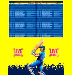 Batsman playing cricket championship sports vector