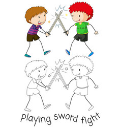 boy playing sword fighting vector image