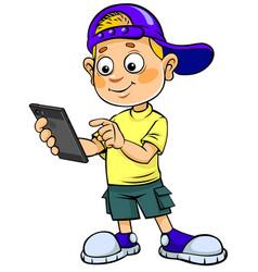 Boy with smartphone vector