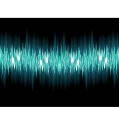 Bright sound wave on a dark green EPS 10 vector image