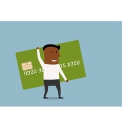 Businessman going with credit card in hands vector image