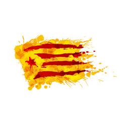 Catalonia estrelada flag made colorful splashes vector