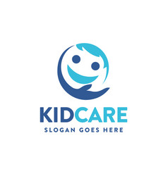 child logo icon caring kid caring son smile icon vector image