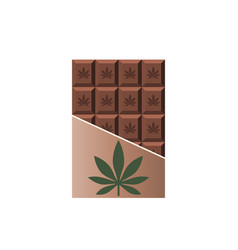Chocolate bar with marijuana leaf narcotic sweets vector