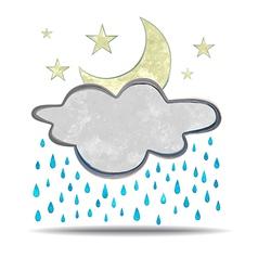 Climate cloud rain and moon vector