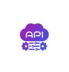 Cloud api and software integration icon vector