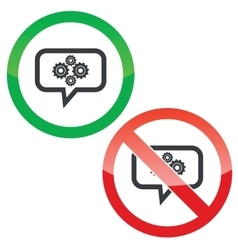Cogs message permission signs vector