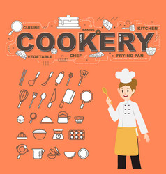 cookery with food icons set design vector image