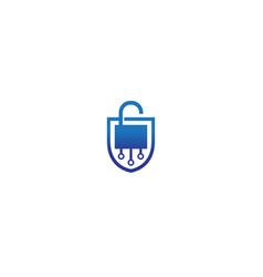 creative shield lock tech logo vector image