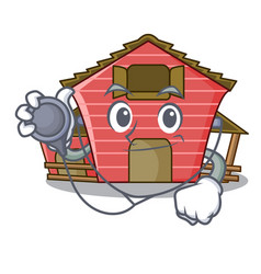 Doctor character red barn building with haystack vector