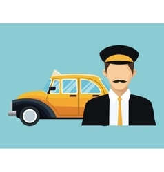 Driver old taxi cab car commercial transport vector