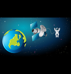 Earth scene with astronaut and satellite vector