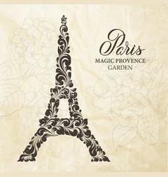 Eiffel tower silhouette made decorate swirls vector
