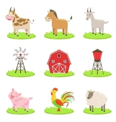 Farm Associated Animals And Objects Set vector