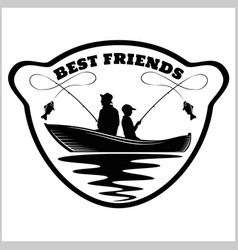 Fishermans and rods - best buds silhouette vector