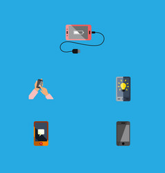 Flat icon phone set of interactive display screen vector
